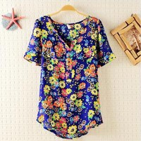 Cute Colorful Flora Print Chiffon T-shirt D69