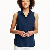 Women's Sleeveless Chambray Shirts