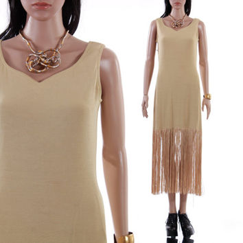 90s does 20s Fringe Midi Drop Waisted Sleeveless Dress Beige Tan Khaki Summer Flapper Boho Chic Minimal Clothing Womens Size Medium Large