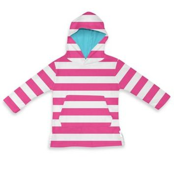 i play.® Terry Hoodie Cover-Up in White/Hot Pink Stripe