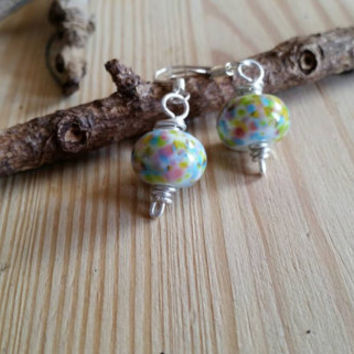 Springtime flowers. Artisan sterling silver lampwork bead earrings. Painterly. Contemporary.