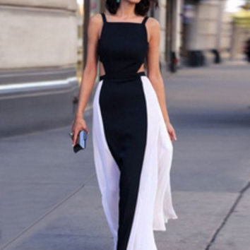 Black and White Sleeveless Cut-Out Maxi Dress