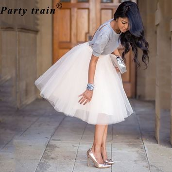 Womens 5 Layer 65cm Princess Midi Tulle Skirt Pleated Dance Tutu Skirt