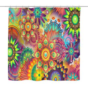 Colorful Floral Abstract Shower Curtains