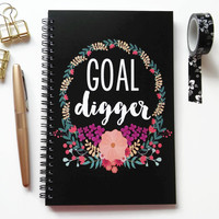 Writing journal, spiral notebook, bullet journal, black and white, floral sketchbook, blank lined grid, motivational journal - Goal digger