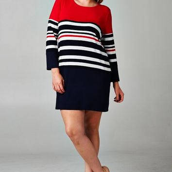 Plus Size Striped Color Block Dress