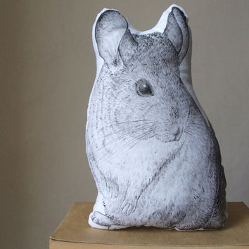 chinchilla soft sculpture handpainted pets portrait pillow cushion animal drawing black and white