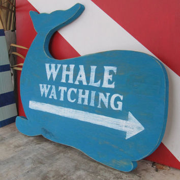 Whale Watching Sign. Wood Whale Sign. Beach Decor. Nautical Decor. Whale Decor. Made to Order
