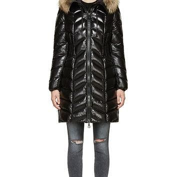 Moncler Black Glossy Chevron Quilted Belloy Coat