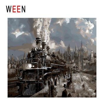 WEEN Train Travel Diy Painting By Numbers Abstract Railway Station Oil Painting On Canvas Cuadros Decoracion Acrylic Wall Art