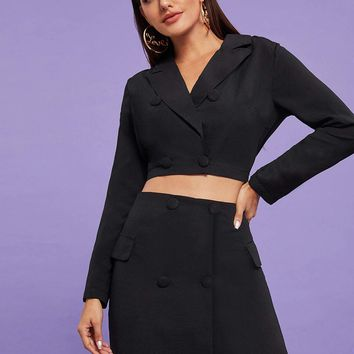 Black Notch Collar Double Breasted Crop Blazer With Skirt