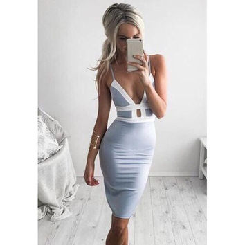 Deep V Neck Sexy Lady Hip Dress = 5617133057