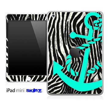 Real Zebra and Trendy Green Anchor Skin for the iPad Mini or Other iPad Versions
