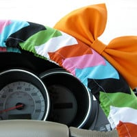 The Original Autumn Chevron Steering Wheel Cover with Matching Bright Orange Bow
