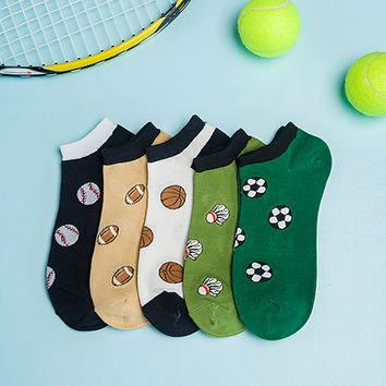 Sports Fanatic Ankle Sock Set [5 Socks.]