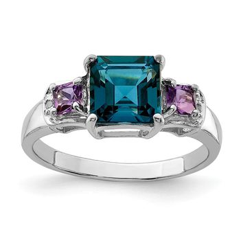 925 Sterling Silver Rhodium London Blue Topaz, Amethyst and Diamond Ring
