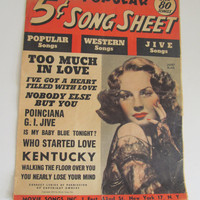 1944 Western Songs Sheet Music Jive Music Quad Fold Out Sheet Art Deco Decor 40s western decor