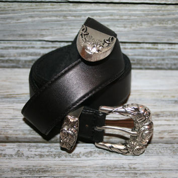 Womens Black Leather Belt Floral Embossed Ornate Silver Buckle Black Belt Size Small Genuine Leather Brighton Womens Accessories