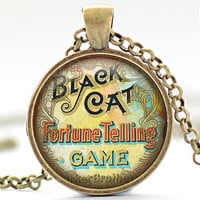Black Cat Fortune Telling Game Necklace, Your Choice of Finish (1272)