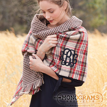 Monogrammed Double Sided TAN Tartan Plaid Houndstooth Blanket Scarf Wrap  Font Shown INTERLOCKING in Black