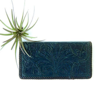 Tooled Leather Checkbook Cover Western Wallet billfold Men's Women's Dark Blue Green check book purse Cover Cowboy Cowgirl