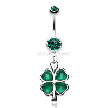 Lucky Four Leaf Clover Dangle Belly Ring (Dark Green)