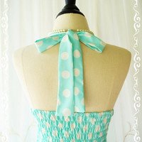My Lady IV - Mint Blue White Polka Dot Sundress Spring Summer Sundress Blue Halter Dress Party Dress Blue Bridesmaid Dress XS-XL Custom