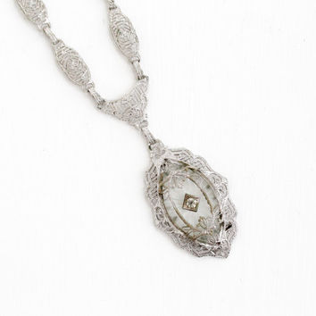 Antique Art Deco Frosted Camphor Glass Lavalier Necklace - Vintage Silver Tone 1920s 1930s Clear Glass Filigree Panel Link Flower Jewelry