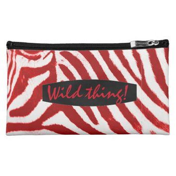 Typography Red and White Zebra Stripes Makeup Bags
