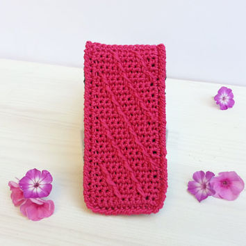 Changeabel  Frontflap for Smartphone and Iphone Case, crocheted, Samsung Galaxy S3, S4, S5 and Iphone 5