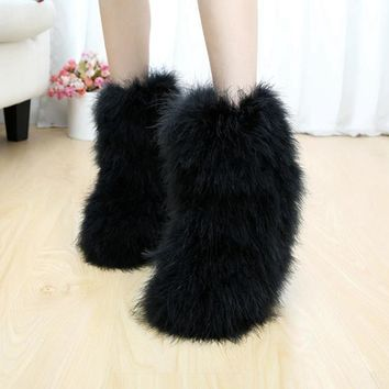 Luxury Genuine Real Ostrich Feather Snow Boots