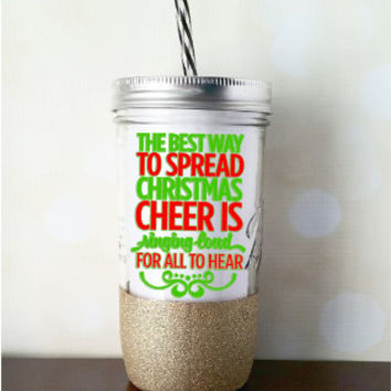 Christmas Tumbler/Glitter Dipped Tumbler/Glitter Dipped Mason Jar/Glitter Dipped Holiday Tumbler/Gold Glitter Holiday Cup/Holiday Cheer