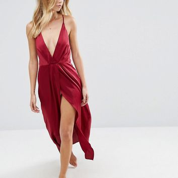 ASOS Pleat Side Satin Maxi Slip at asos.com