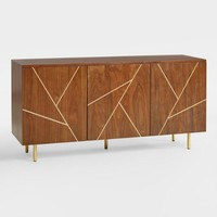 Wood and Metal Inlay Dustin Cabinet