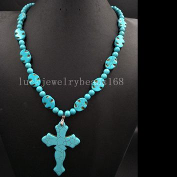 Fashion Turquoise Necklaces  Howlite Cross Oval Art Beads