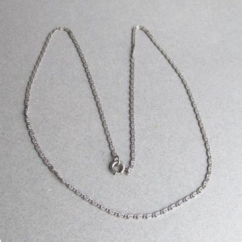 "1920's Art Deco Fine Vintage Sterling Silver TRUE Paperclip 18"" Chain"