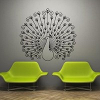Wall Decal Art Decor Decals Sticker Peacock Bird Beauty Tail Feather Bedroom Design Mural (M930)