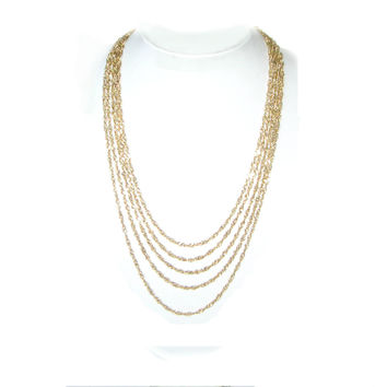 Long Gold Multi Strand Chain Necklace - Layered Gold Chain Swag