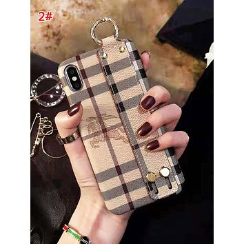 Burberry Fashion New Horse Print Plaid Wrist Band Women Men Phone Case Protective Cover 2#