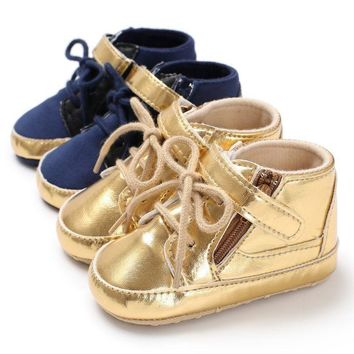Newborn Infant Baby Crib Shoes Soft Sole PU Leather Toddler Shoes Lacing Sneaker