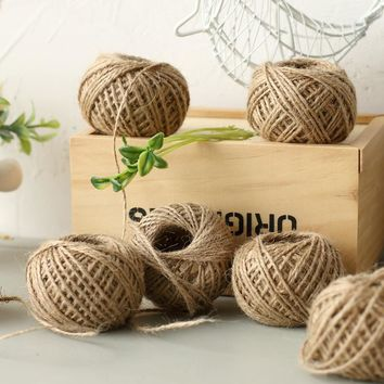 Hoomall 1Roll 50M Natural Burlap Hessian Jute Twine Cord Hemp Rope String 2mm Rustic Wrap Gift Packing String Wedding Decoration