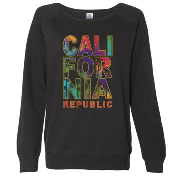 California Pastel Stitched Style Ladies Lightweight Fitted Crewneck