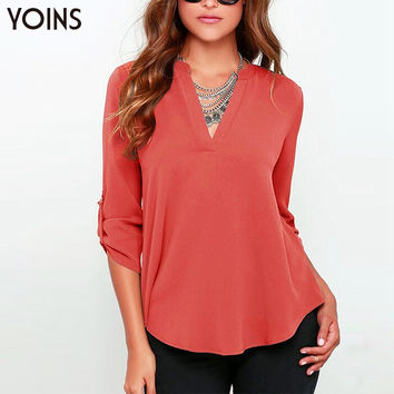 YOINS 2016 Spring New V-neck Solid Chiffon Blouses Casual Plus Size Women Thin Shirt Fashion Slim Adjustable Sleeves Ladies Tops