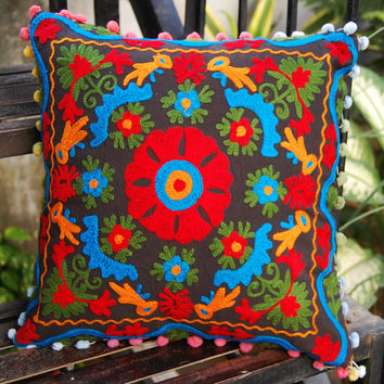 Cotton Pillow/Cushion Cover Suzani Cushion Covers Handmade Wool Embroidered Rangoli Design High Fashion Tradition Folk Christmas Gift/Decor