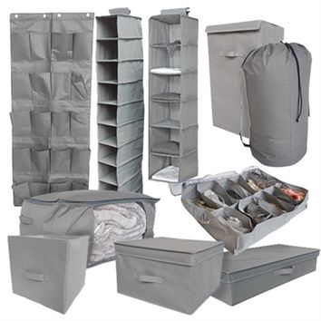 10PC Complete Dorm Organization Set - TUSK Storage - Gray