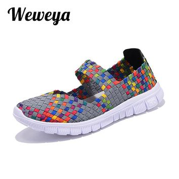 Weweya Casual Flats Shoes Woman Fashion Female Handmade Women Woven Shoes Summer Size Slip-on Flat Shoes Women Chaussure Femme