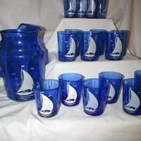 sailboat tumblers and pitcher blue depression glass Hazel Atlas Ships Sportsman Seriers, 3 sizes of glasses Vintage 1930s