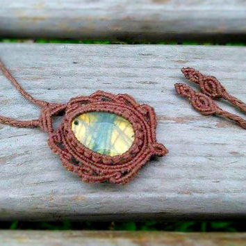Labradorite Macrame Necklace | Organic Hemp Jewelry | Pine Cone Necklace | Boho Layering Necklace