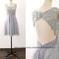 Silver Lace Chiffon Short Prom Dress, Chiffon Lace Long Prom Gown with Open Back,  Knee Length Formal Dresses, Wedding Bridesmaid Dress