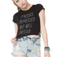 Brandy ♥ Melville |  Stressed Depressed But Well Dressed Top - Clothing